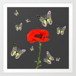 RED POPPY FLOWER & GREY BUTTERFLIES Art Print