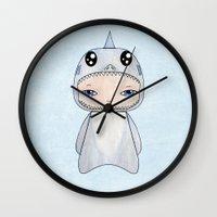 tintin Wall Clocks featuring A Boy - Shark by Christophe Chiozzi