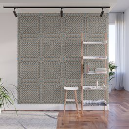 Beige and Blue Mosaic Pattern Wall Mural