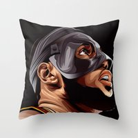 lebron Throw Pillows featuring THE KING by THEMAD3
