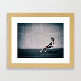 top model with hat Framed Art Print