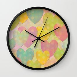 Pastel Colors Flying Hearts Wall Clock