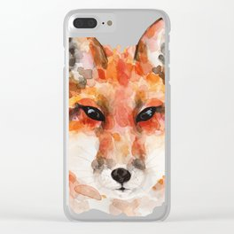 Cunning red fox Clear iPhone Case