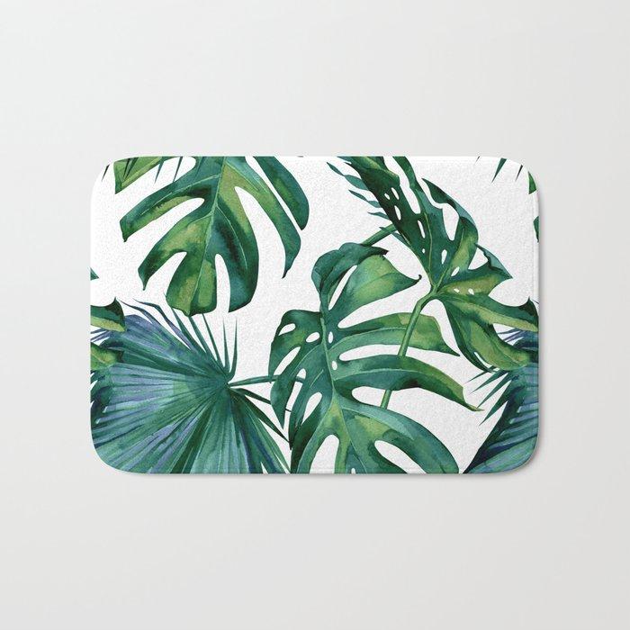 Classic Palm Leaves Tropical Jungle Green Bath Mat