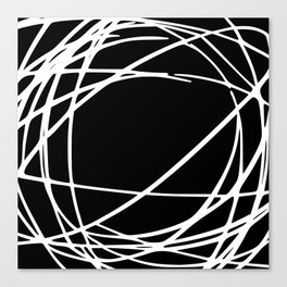 Black and White Circles and Swirls Modern Abstract Canvas Print