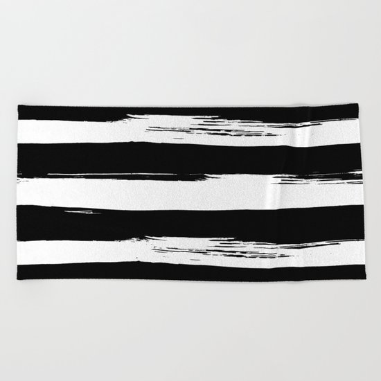 Paint Stripes Black and White Beach Towel