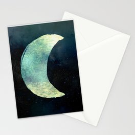 Iridescent Waning Crescent Moon Stationery Cards