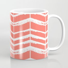Herringbone (Coral & White) Coffee Mug