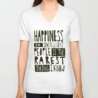 hemingway V-neck T-shirts featuring Hemingway: Happiness by Leah Flores
