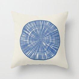 ANNUAL RINGS BLUE Throw Pillow