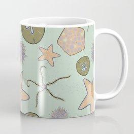 Sea stars and urchin - echinoderm beach print aqua Coffee Mug