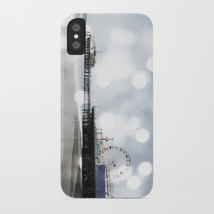 Sparkling grey Santa Monica Pier iPhone Case
