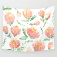 peonies Wall Tapestries featuring peonies by Golden Girl Art