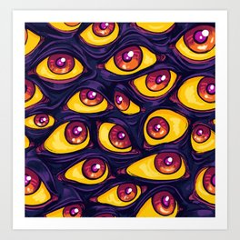 Wall of Eyes in Dark Purple Art Print