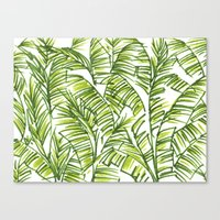 banana leaf Canvas Prints featuring Banana Leaf by The Paper Apartment