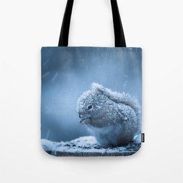 Snowstorm Squirrel Tote Bag