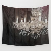 chandelier Wall Tapestries featuring rustic nature barn wood western country shabby chic chandelier art by chicelegantboutique
