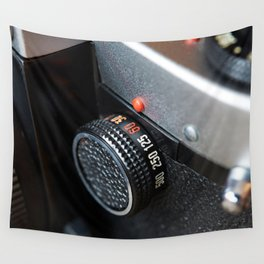 Control dial shutter speed on retro photo camera Wall Tapestry