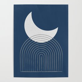 Moon Mountain Blue - Mid Century Modern Poster