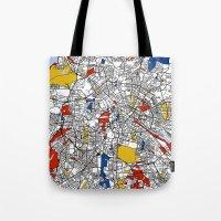 mondrian Tote Bags featuring Berlin mondrian by Mondrian Maps