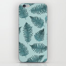 Blue fern garden botanical leaf illustration pattern iPhone Skin