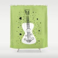 guitar Shower Curtains featuring POP GUITAR by Matthew Taylor Wilson