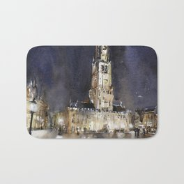 Belfry of Bruges  medieval bell tower in the centre of Bruges, Belgium.  Watercolor painting Bath Mat