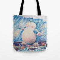 snorlax Tote Bags featuring Snorlax Used Surf by LaurelAnneEquineArt