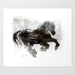 Horse (Winter Canter) Art Print