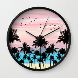Pink beach Wall Clock