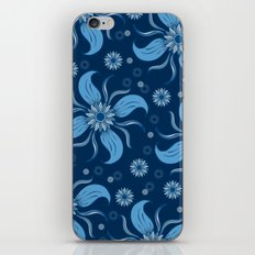 Floral Obscura Dark Blue iPhone & iPod Skin