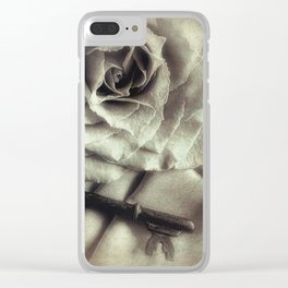 Faded Rose and Old Key Vintage Style Modern Country Cottage Art A130 Clear iPhone Case
