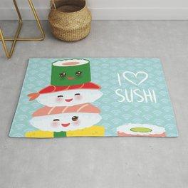 I love sushi. Kawaii funny sushi set with pink cheeks and big eyes, emoji. Blue japanese pattern Rug