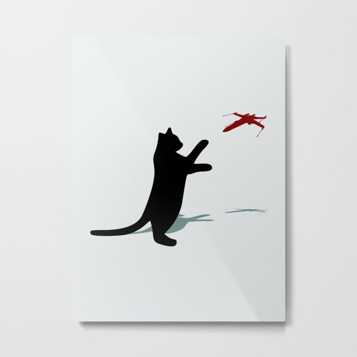 Cat and X-Wing Metal Print