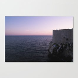 Sunset over the wall in Old Town Dubrovnik, Croatia Canvas Print