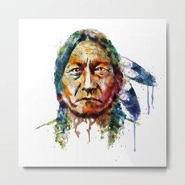 Sitting Bull watercolor painting Metal Print