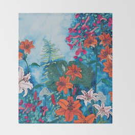 Blue Jungle of Orange Lily and Pink Trumpet Vine Floral Throw Blanket