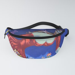 Le bouquet; lady in red picking wildflowers floral masterpiece painting by Marc Saint-Saëns Fanny Pack