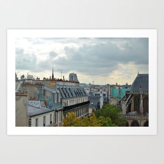 paris roof tops Art Print