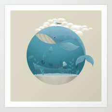Seagull rest over whale Art Print