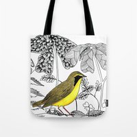 kentucky Tote Bags featuring Kentucky Warbler by Art by Peleegirl