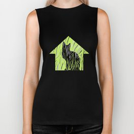 Black House Cat on Grass Biker Tank