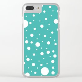 Mixed Polka Dots - White on Verdigris Clear iPhone Case