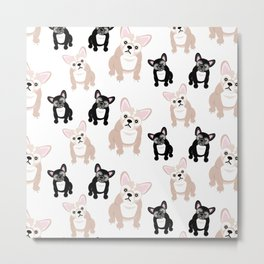 Cute French Bulldog Pattern Metal Print
