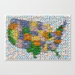 USA United States Map License Plate Mosaic Canvas Print