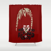 soul eater Shower Curtains featuring maka albarn soul eater by Rebecca McGoran