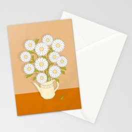 bouquet of white camomiles in the vase Stationery Cards