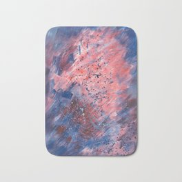 Blue & red abstract forms Bath Mat