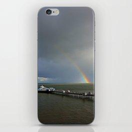 Rainbow at sea, Llandudno pier, Wales, UK iPhone Skin