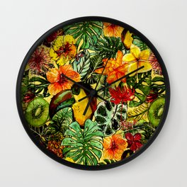 Tropical Vintage Exotic Jungle Flower Flowers - Floral watercolor pattern on #Society6 Wall Clock